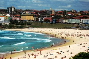 picture of people swimming at Bondi Beach